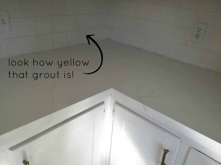 The old, yellow tile grout in my kitchen desperately needed to be restored