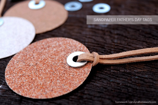 These DIY sandpaper gift tags are the perfect final touch for your DIY Father's Day gifts for dad