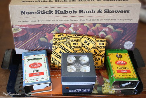A gift basket of all of Dad's favorite things like grill seasonings and grilling tools is a perfect DIY father's day gift