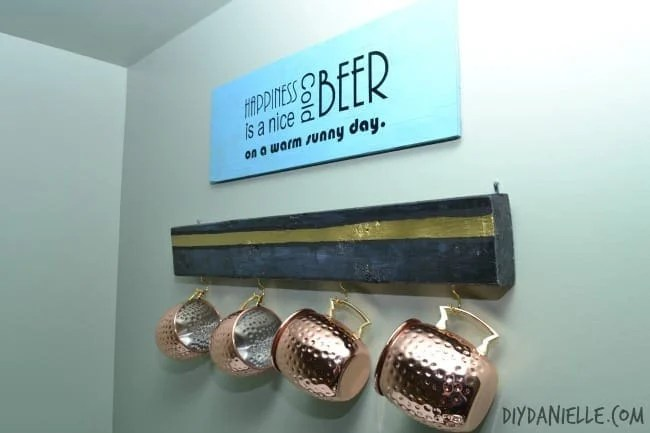 This DIY beer sign and Mule mug rack is the perfect DIY father's day gift that belongs in a man cave