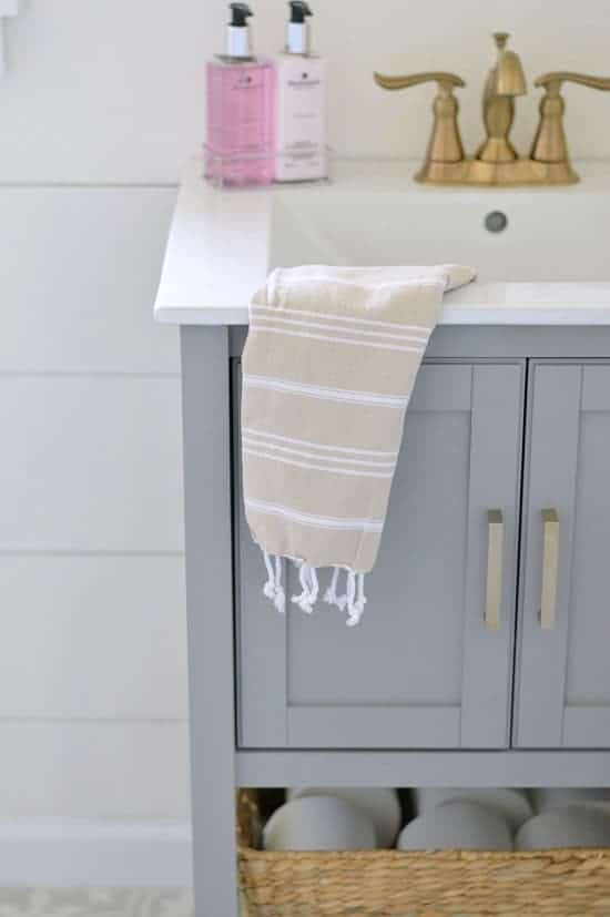 Use towels to add color when decorating a bathroom
