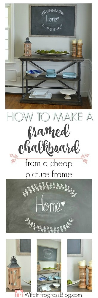 This extra large framed chalkboard was made from a cheap picture frame. It adds the perfect rustic farmhouse style to any home and costs only a few dollars to make!