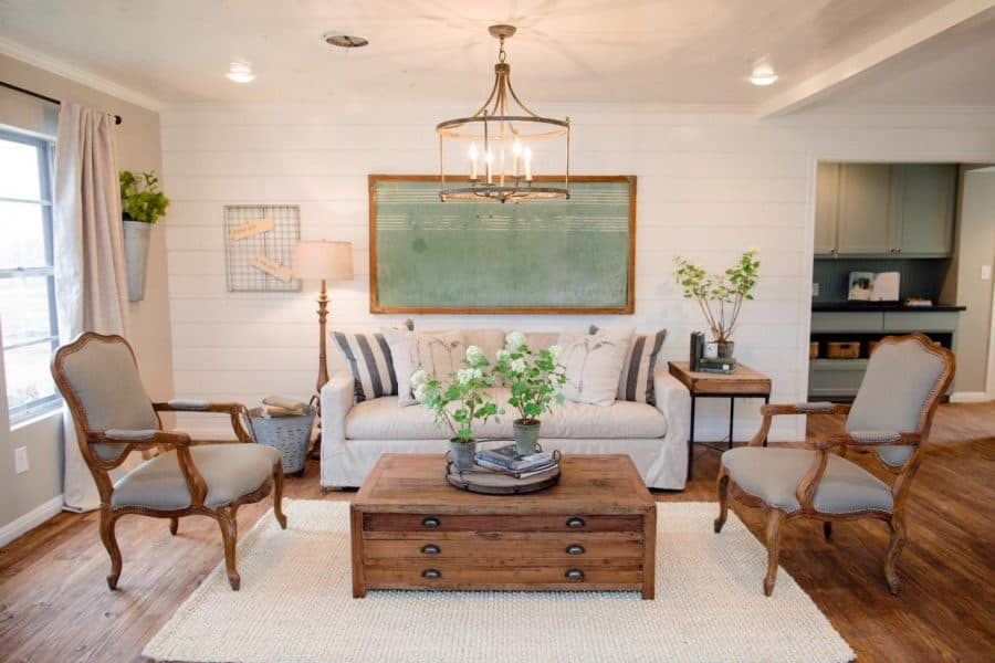 Rustic coffee table and cream rug for the fixer upper look