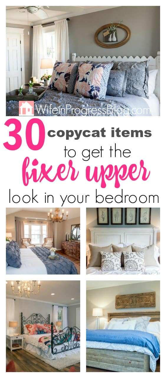 Copy items to help you recreate the fixer upper look in your own bedroom