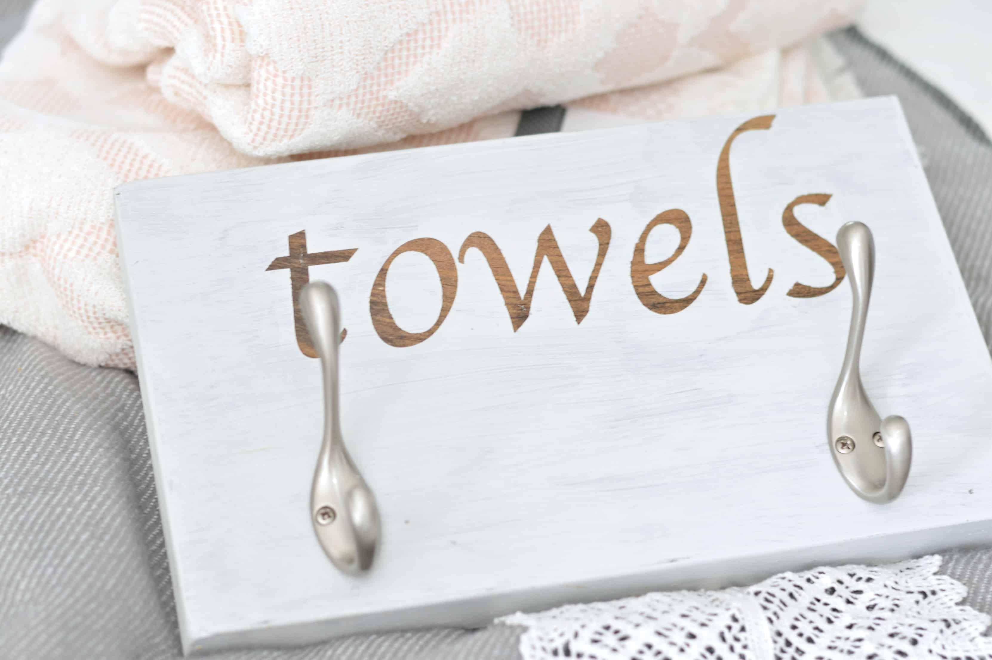 DIY towel hook rack with nickel robe hooks