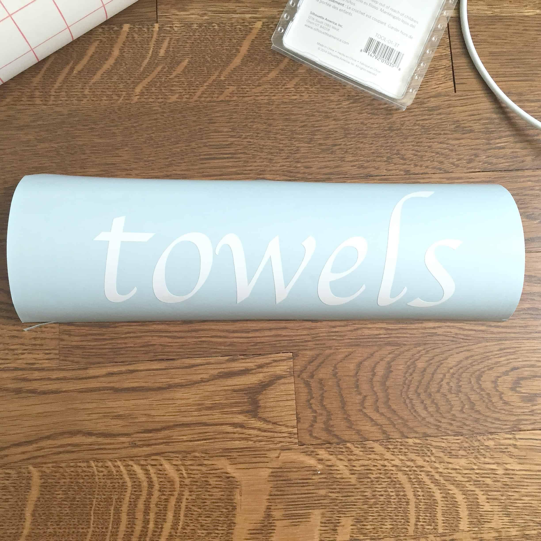 """""""towels"""" printed on vinyl"""