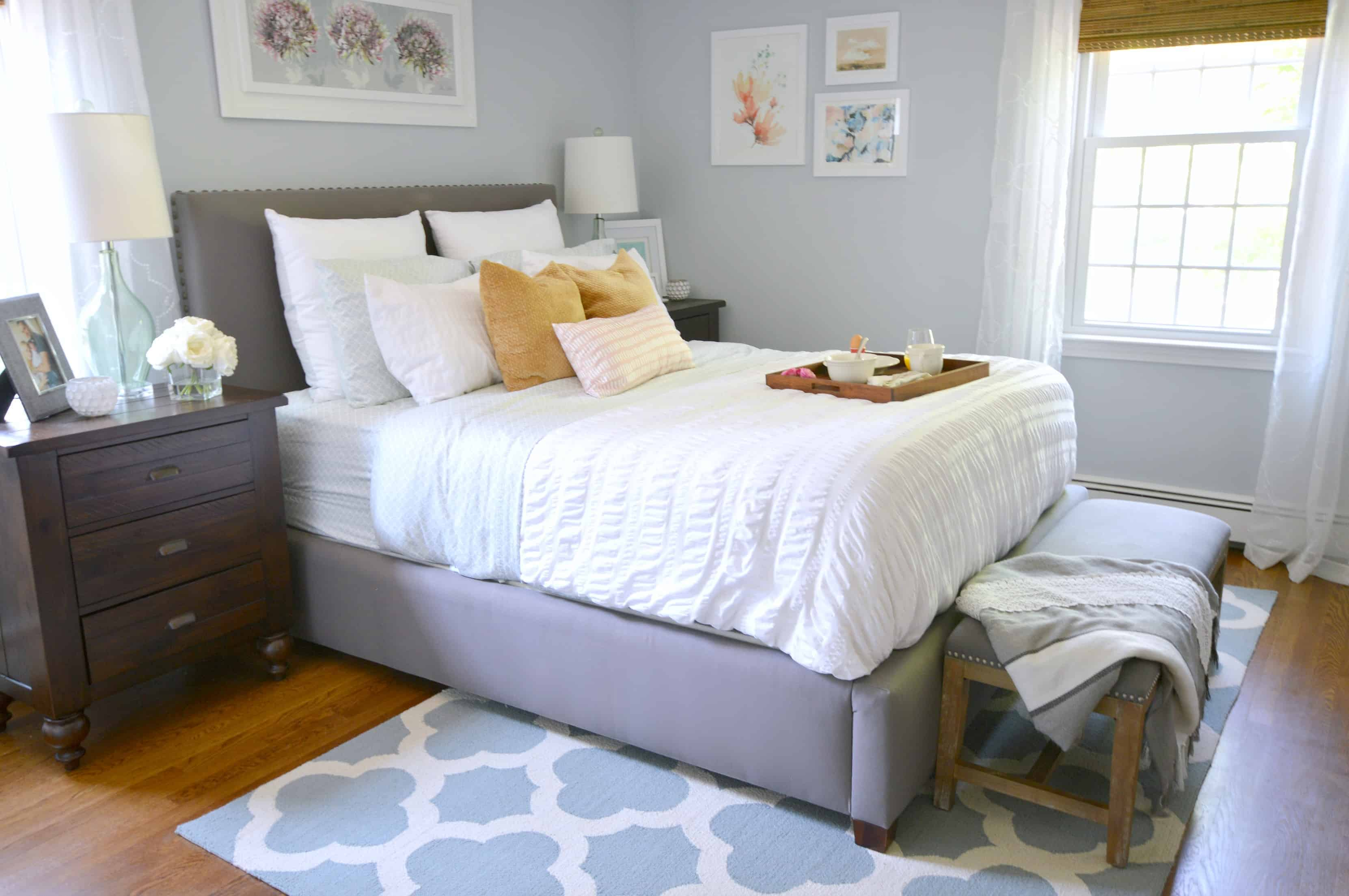 Light French Gray looks very blue in this west facing bedroom