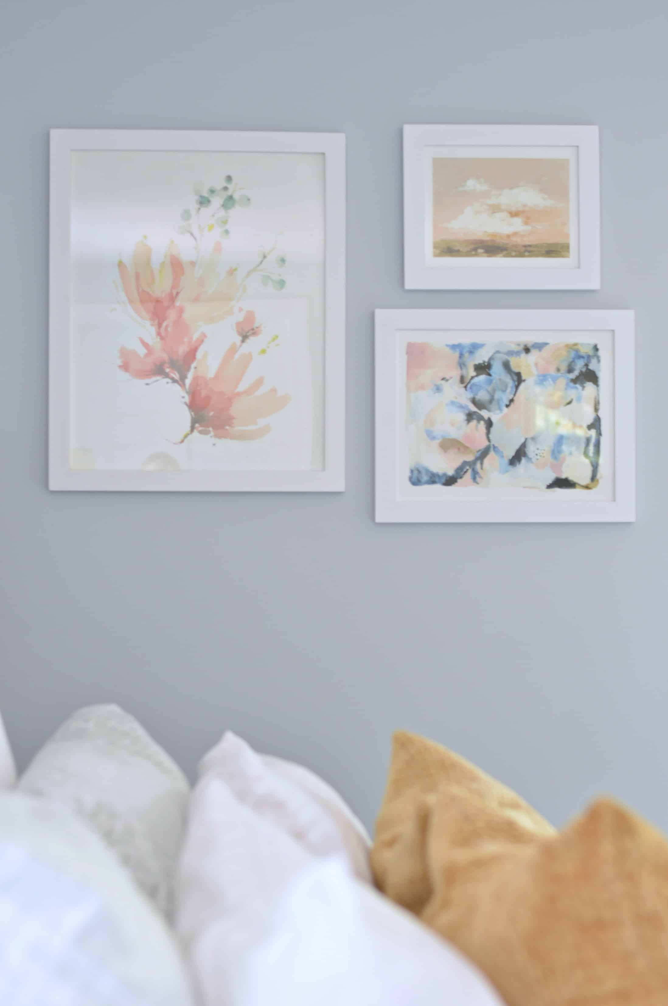 Beautiful wall art with pops of pink and blue from Minted.com