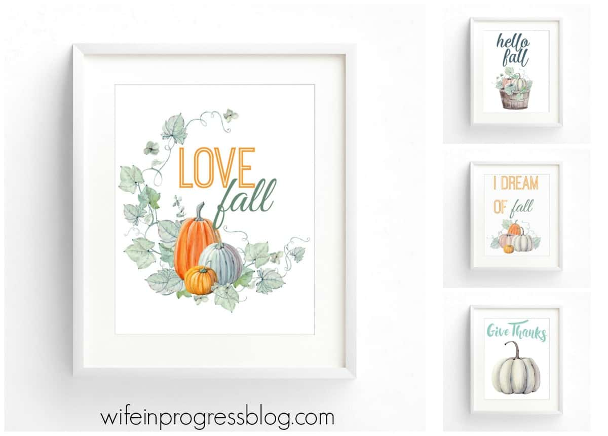 FREE fall printables for you to download and print! Just pop them in a frame for easy and beautiful autumn decor!
