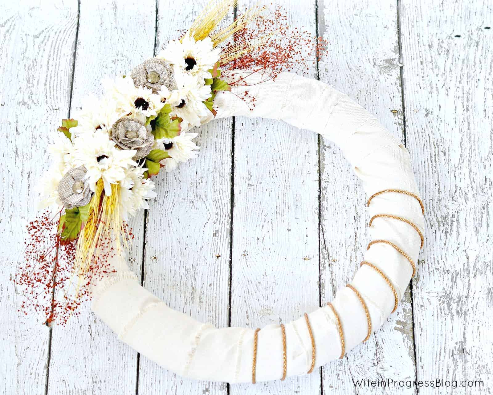 flat lay image of finished wreath