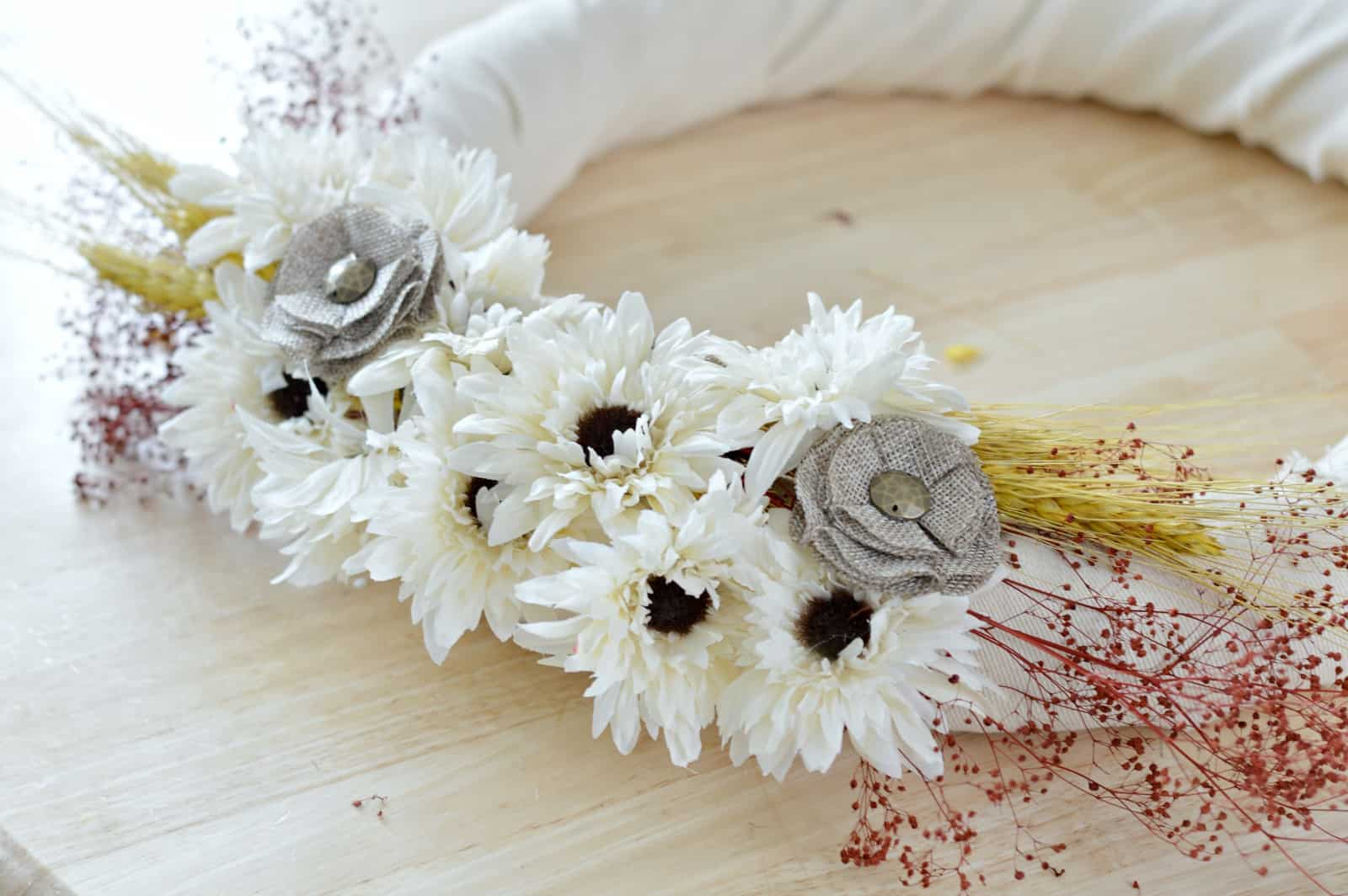 fill in all the gaps with faux flowers