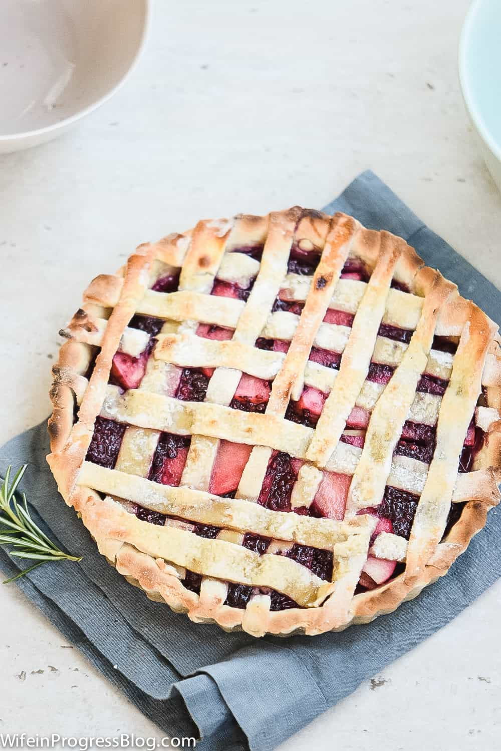 rustic pie filled with blackberries and apples