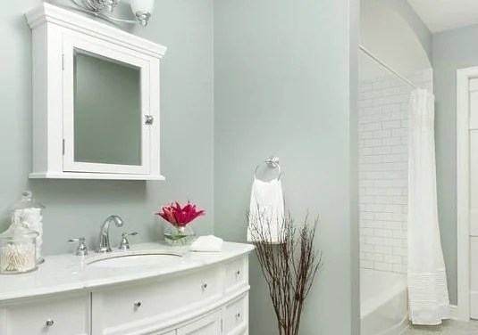 Soft blue green paint color for a bathroom