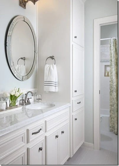 Healing Aloe Bathroom paint color paired with white cabinetry