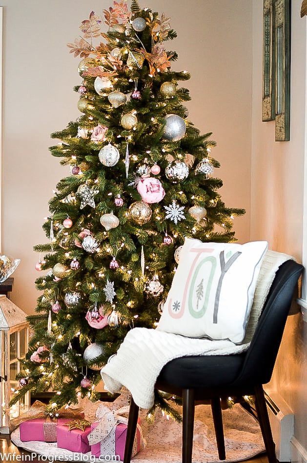 Pink Christmas Tree Decorations with and Joy pillow. The perfect pastel decor for Christmas!