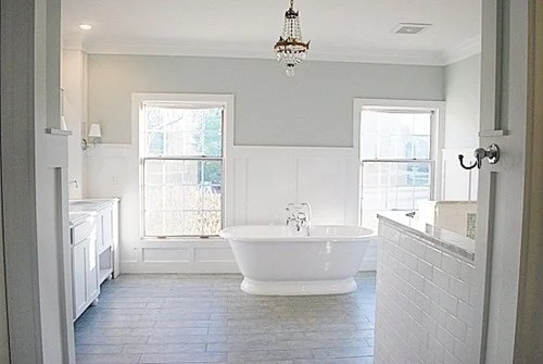 Sherwin Williams Sea Salt bathroom with wainscoting on lower half of the walls