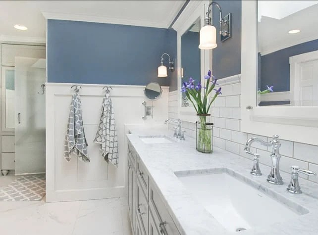Pair a shade of blue with lots of white in a bathroom