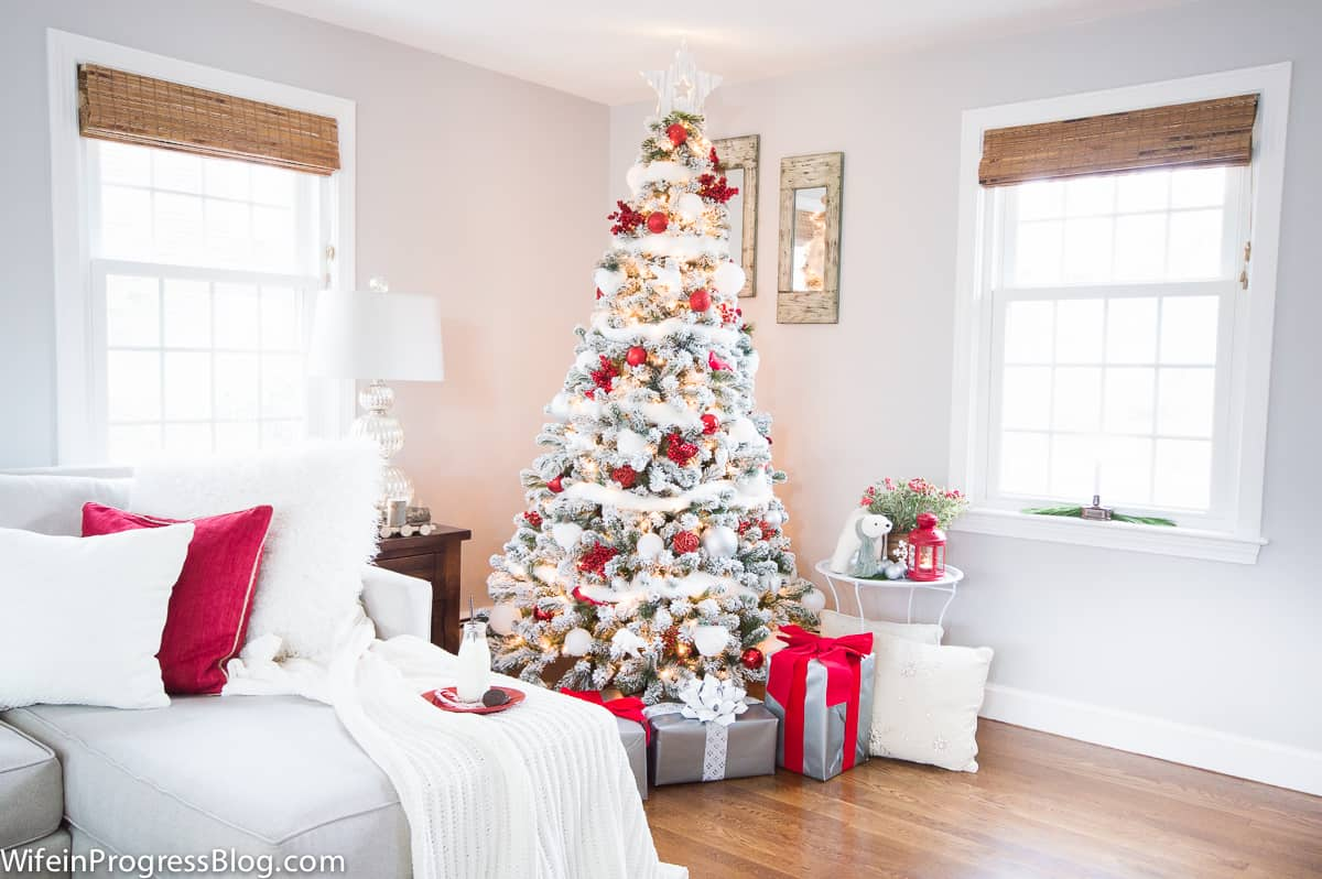 Christmas decorations - a red and white winter wonderland