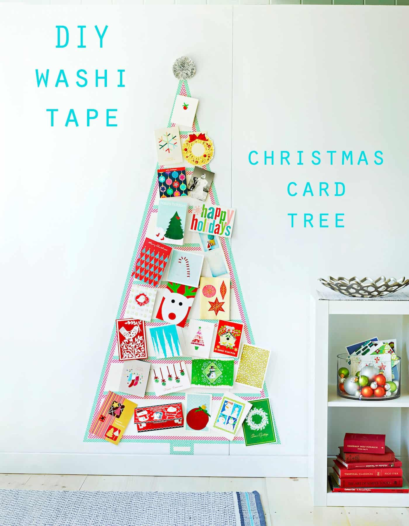 Show off all your Christmas cards in style with this creative and fun washi tape Christmas tree