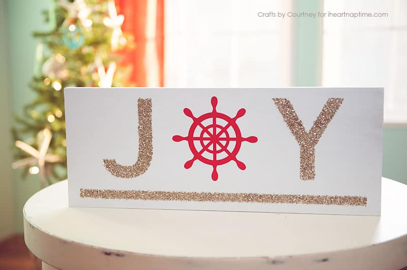 This DIY Joy sign adds a nautical touch to any Christmas decor