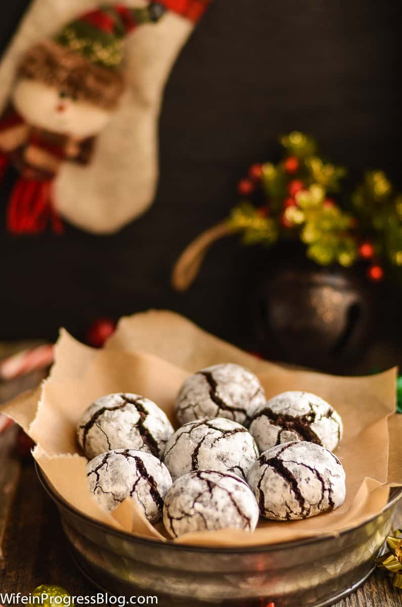 These chocolate crinkle cookies are the perfect cookies to pair with a warm mug of hot chocolate