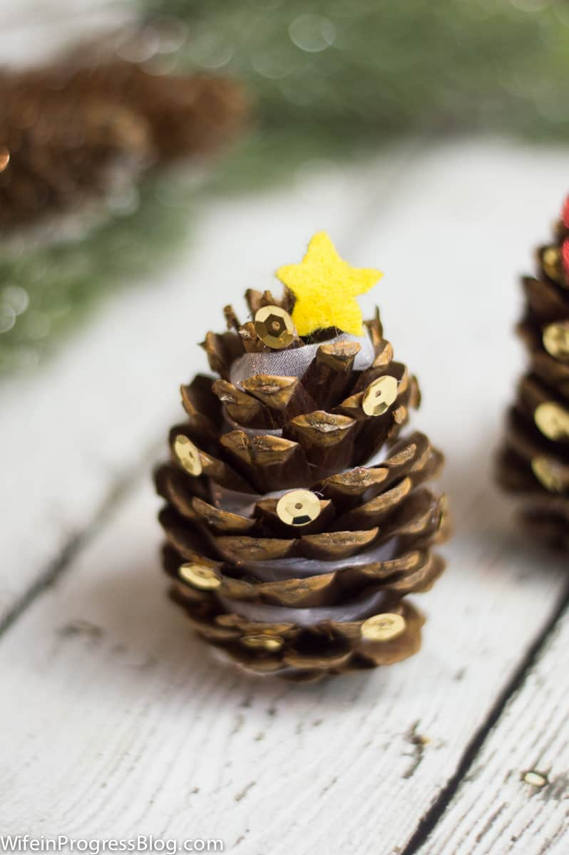 Make your own Christmas Tree ornaments with pinecones!
