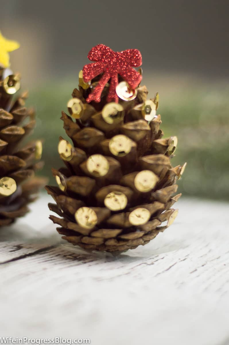 Cute mini Christmas trees made with pinecones