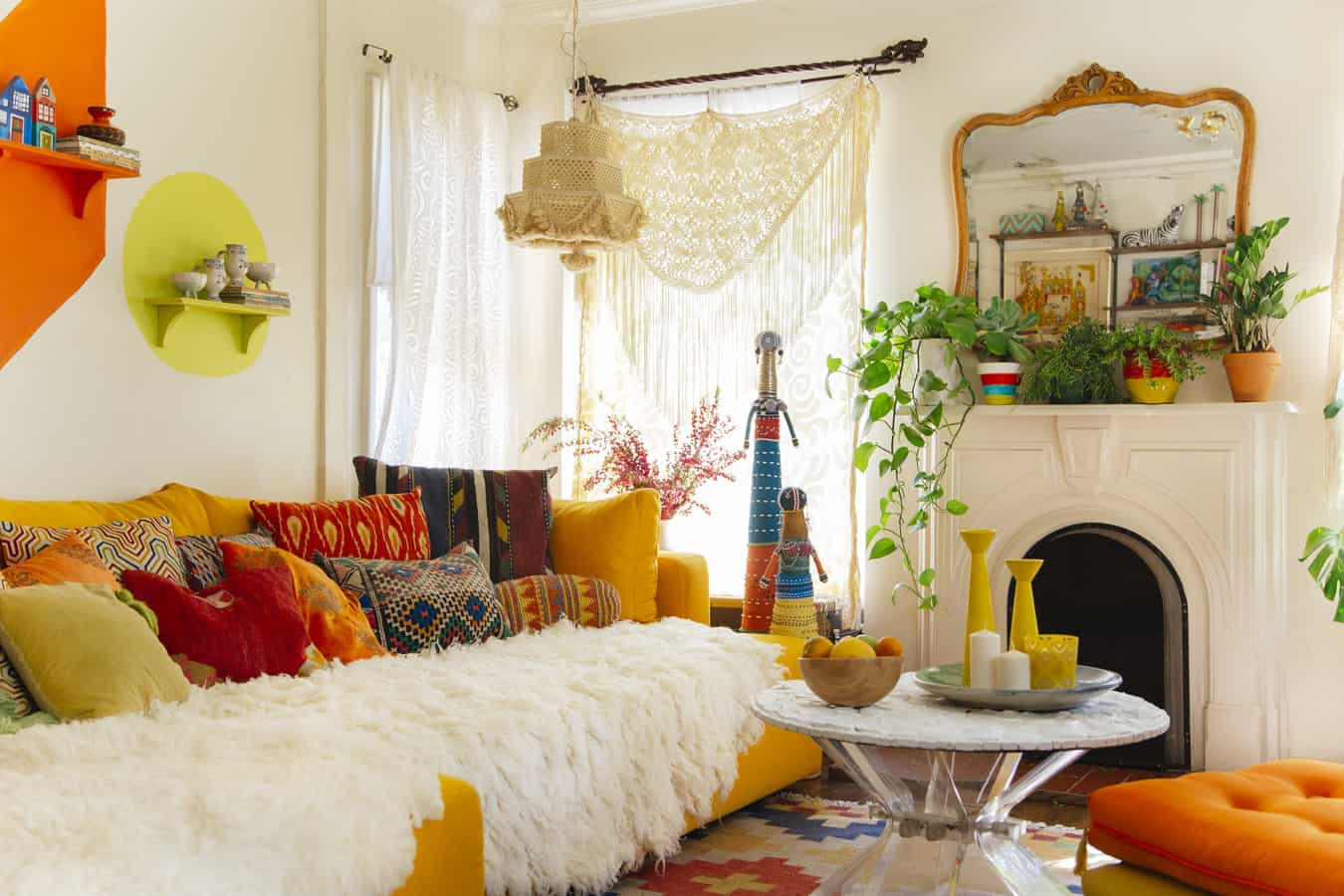 Bohemian decor style full of color