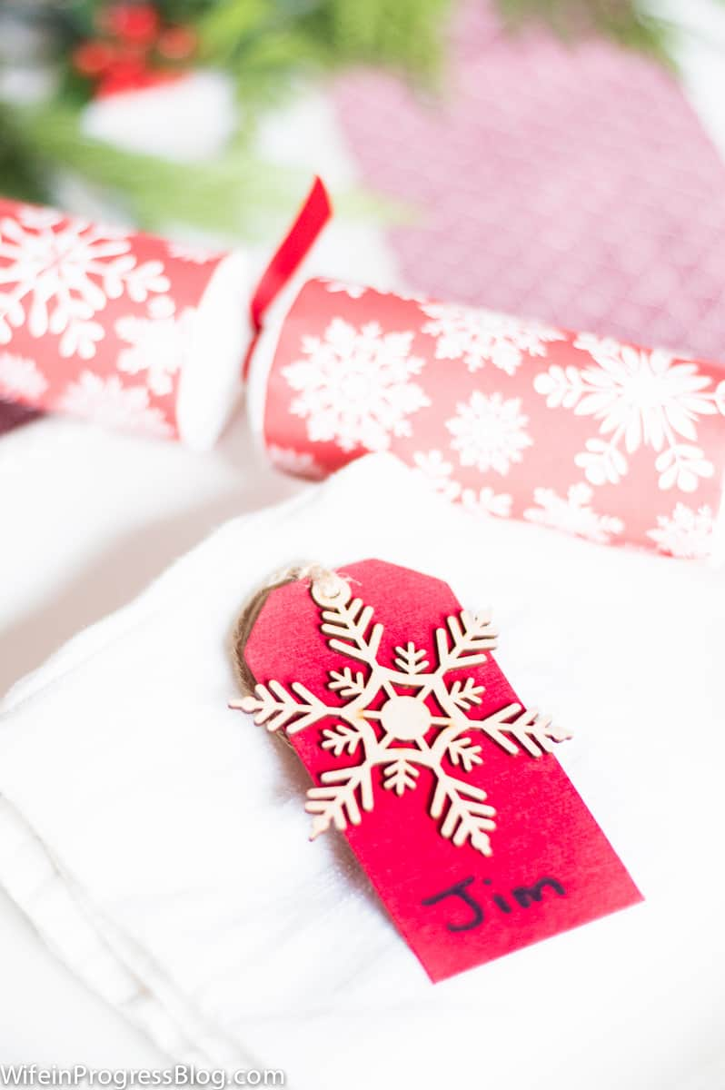 Gift tags for names - Christmas table decorations and other ideas