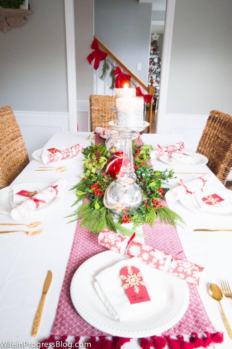 Pretty table setting for Christmas dinner