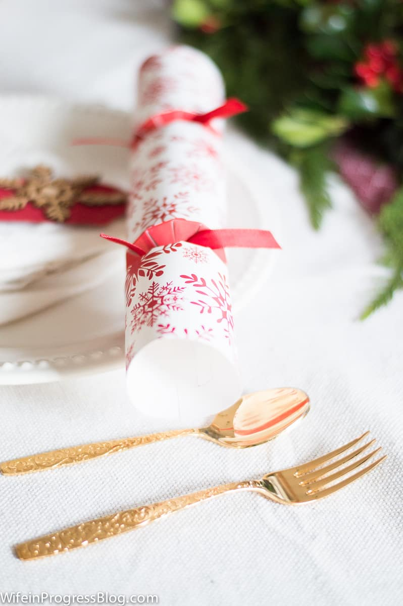 Switching up your regular flatware for these gold ones is a great way to up the ante on your Christmas table decorations!