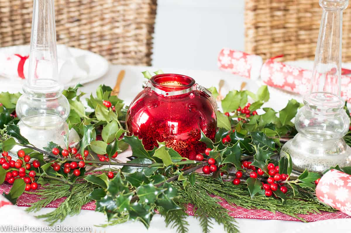 Holly is the perfect festive touch for Christmas table decorations