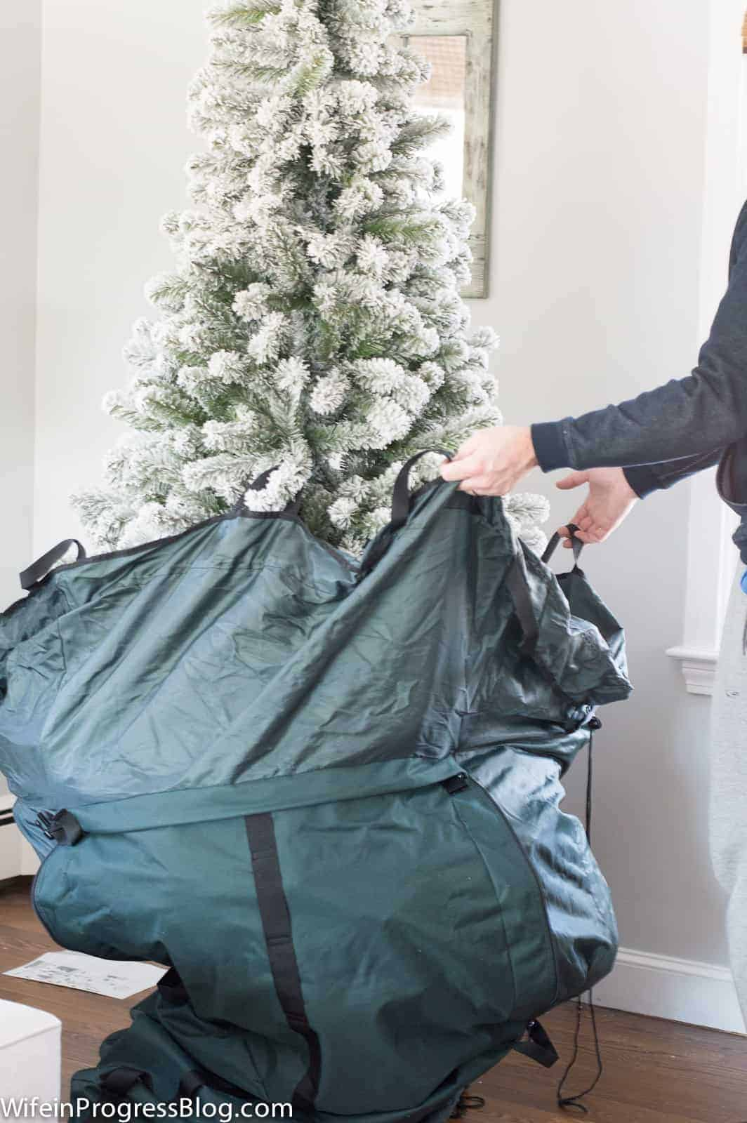 Store your tree upright and never fluff again!