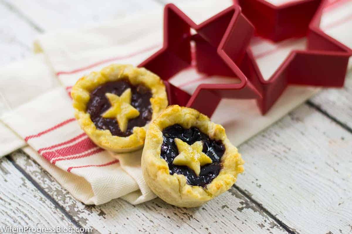 two mini tarts filled with jam