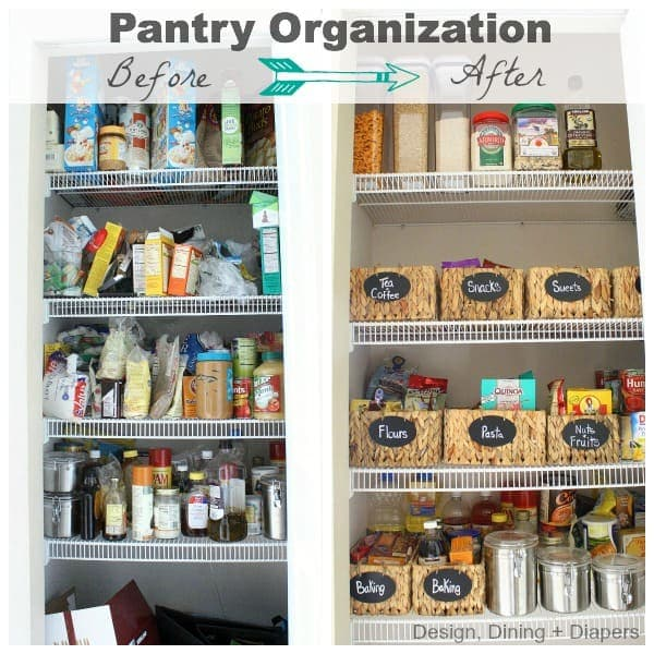 Use baskets to coral items - kitchen organization ideas