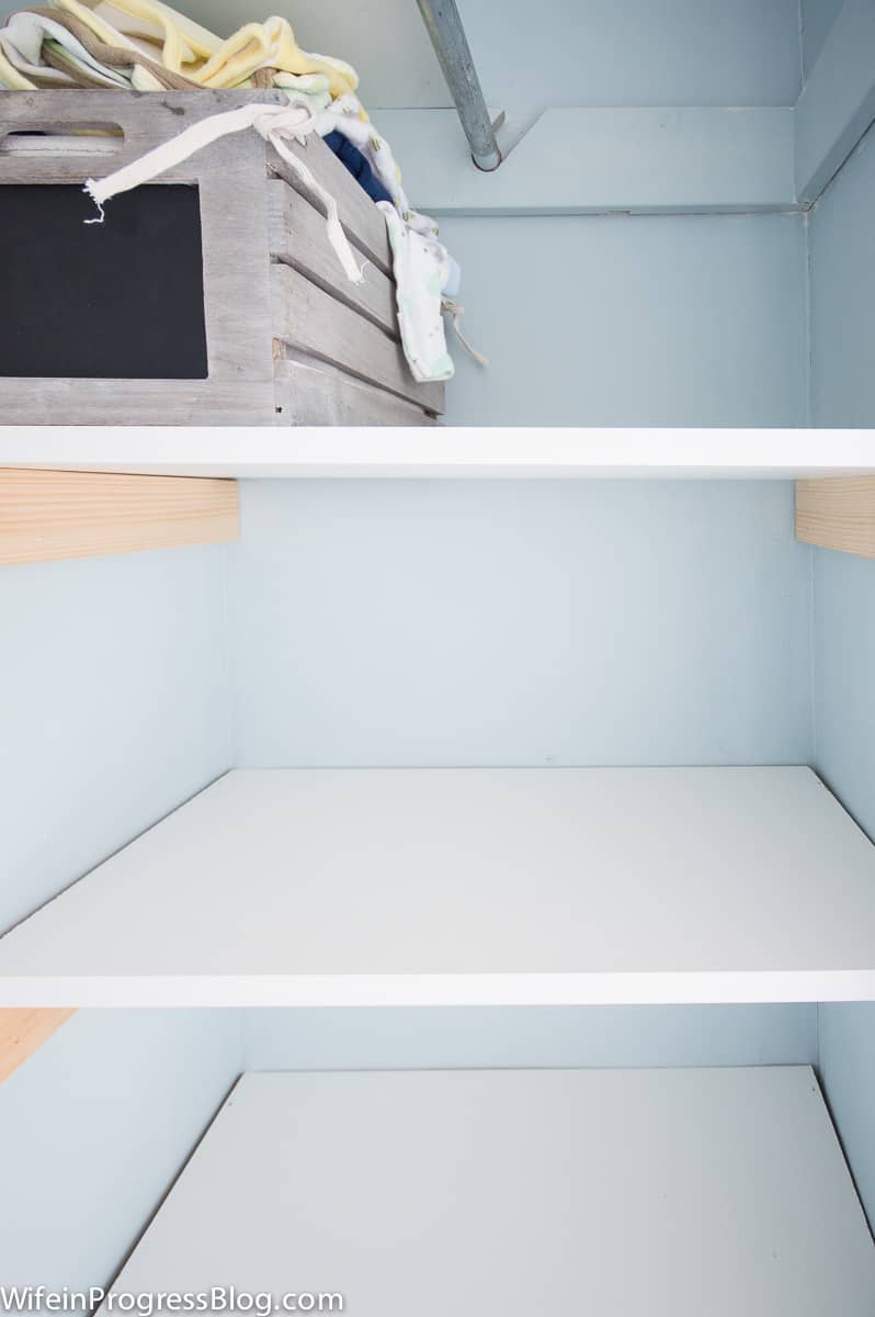 These shelves are really easy to make and take no time to install