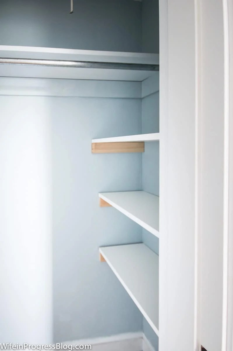 Add extra shelves to closets with some inexpensive melamine