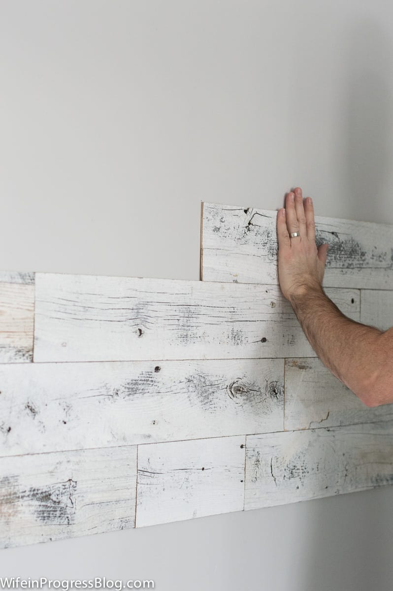 DIY reclaimed wood wall with Stikwood