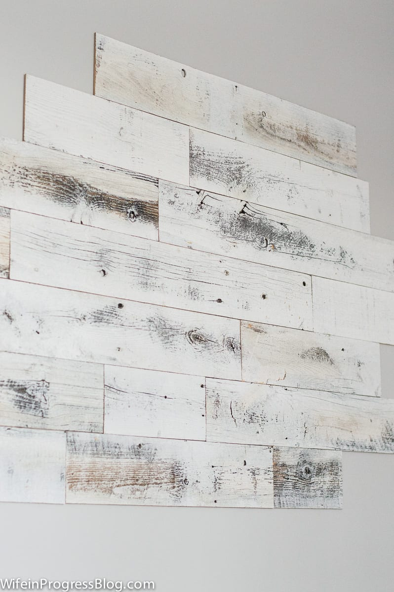 How to install a reclaimed wood wall - peel and stick reclaimed wood planks