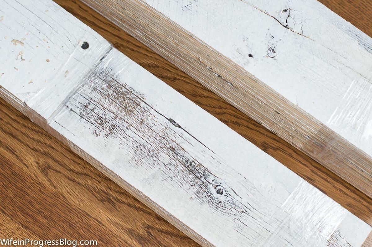 Stikwood planks, weathered wood white
