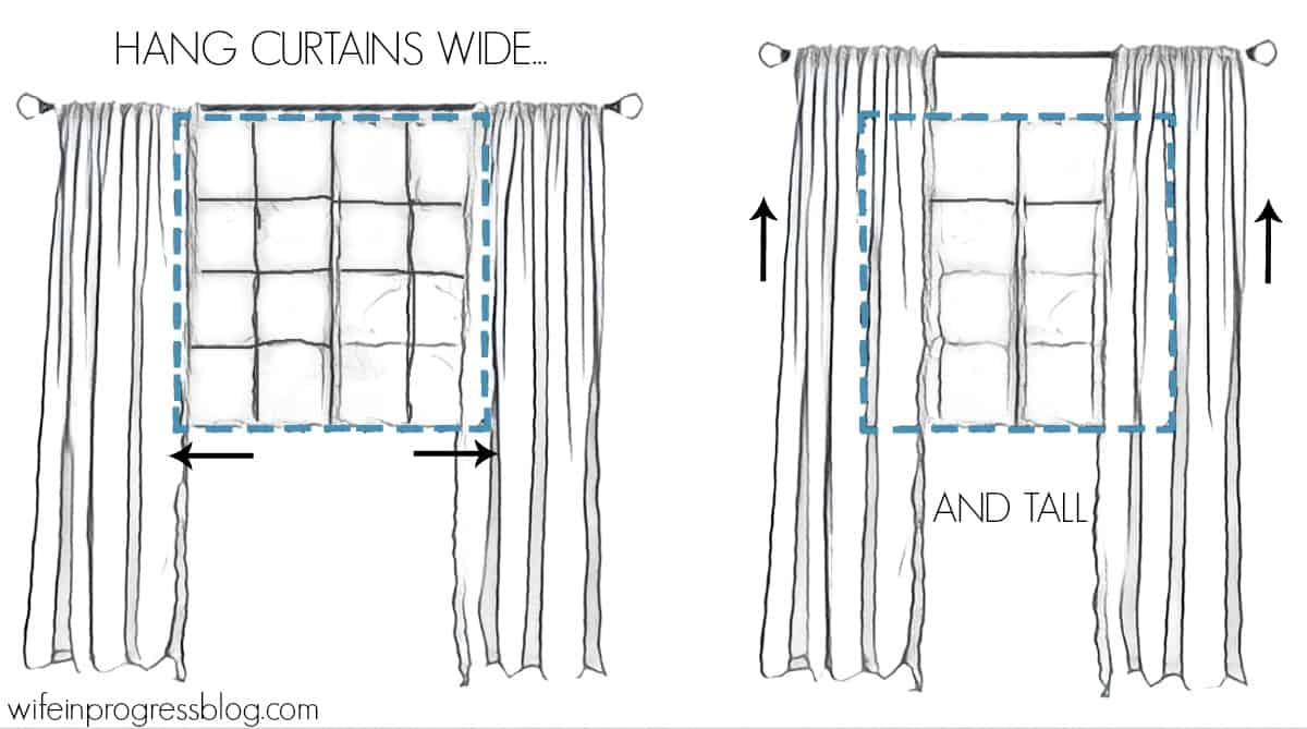 How to Hang Curtains: Wide and Tall is what you need to remember!