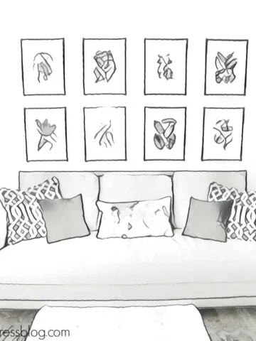 A drawing of a couch with grid artwork over it