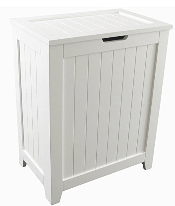 Use a laundry hamper to house your trash can - best kitchen organization ever!