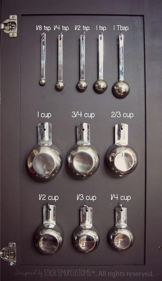 measuring spoons on back of cupboard with decal labels