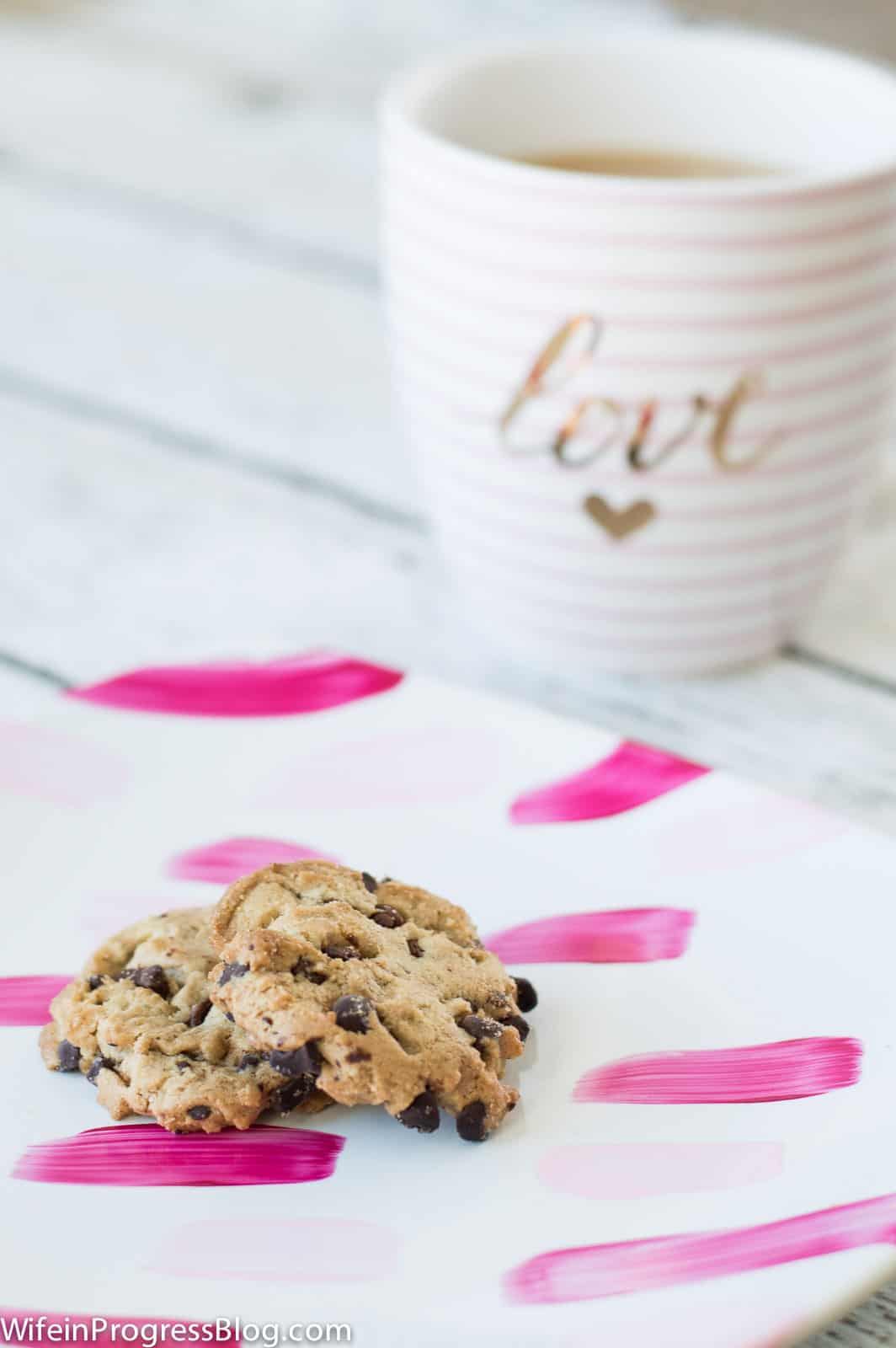 Use your painted Valentine's plates to serve cookies and coffee on Valentine's day