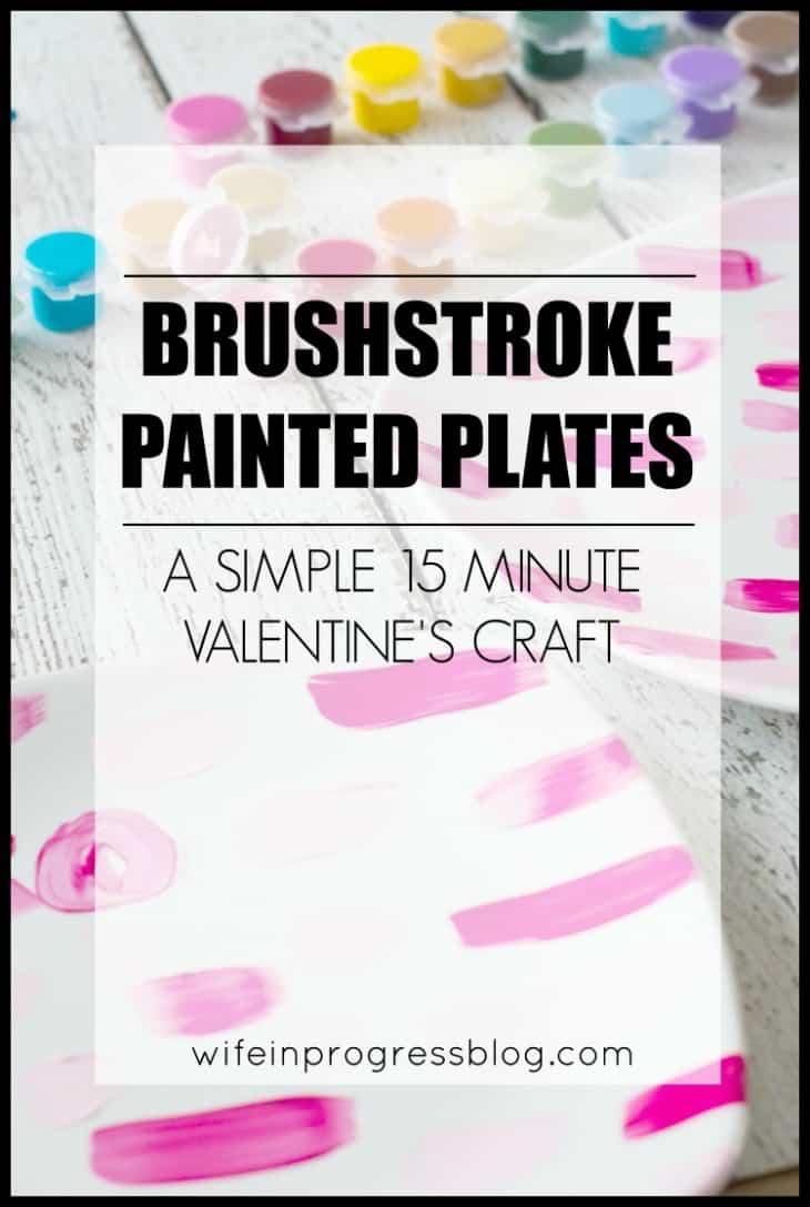 simple valentine's craft, valentine painted plates