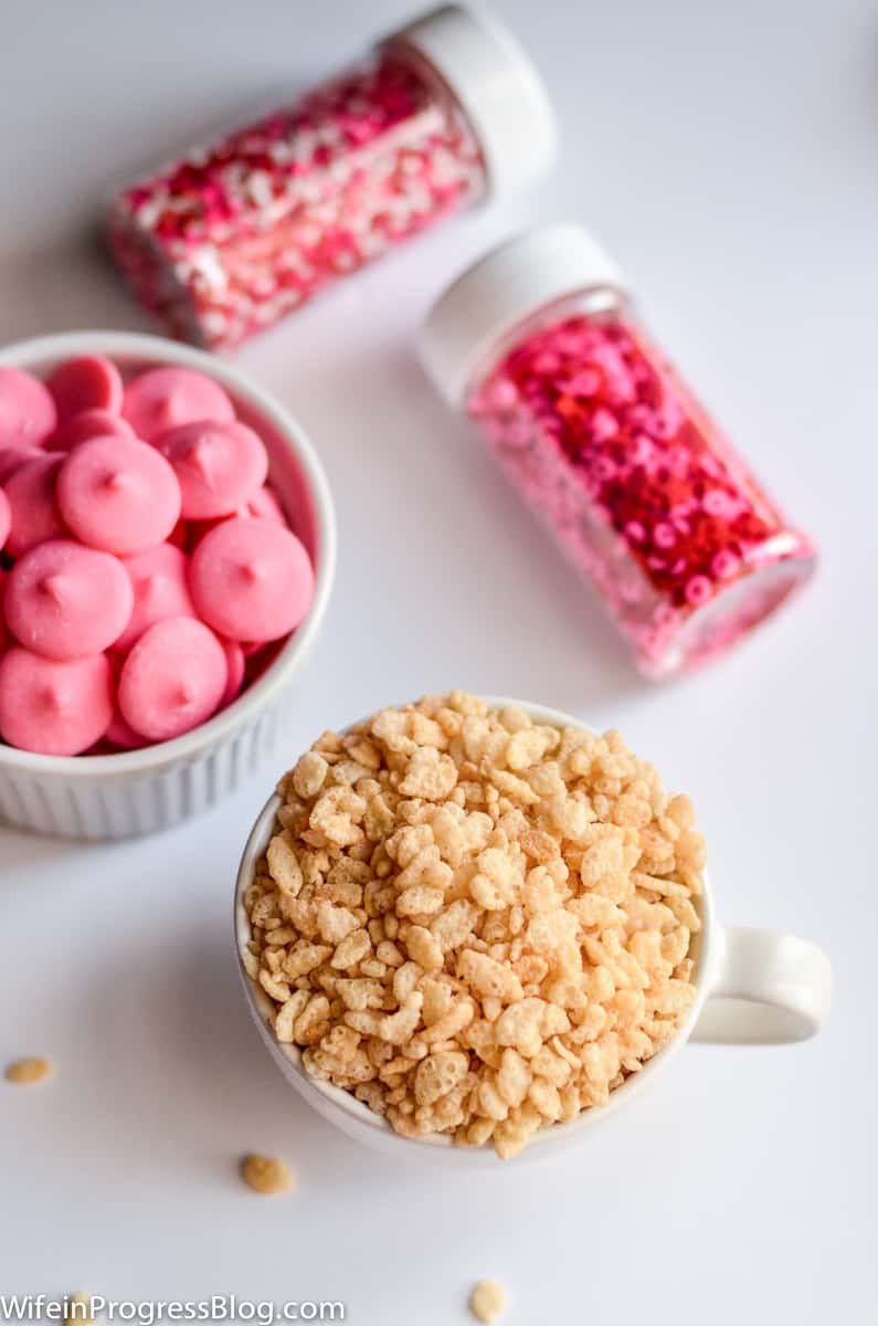 Rice Krispies, pink candy melts and Valentine's sprinkles