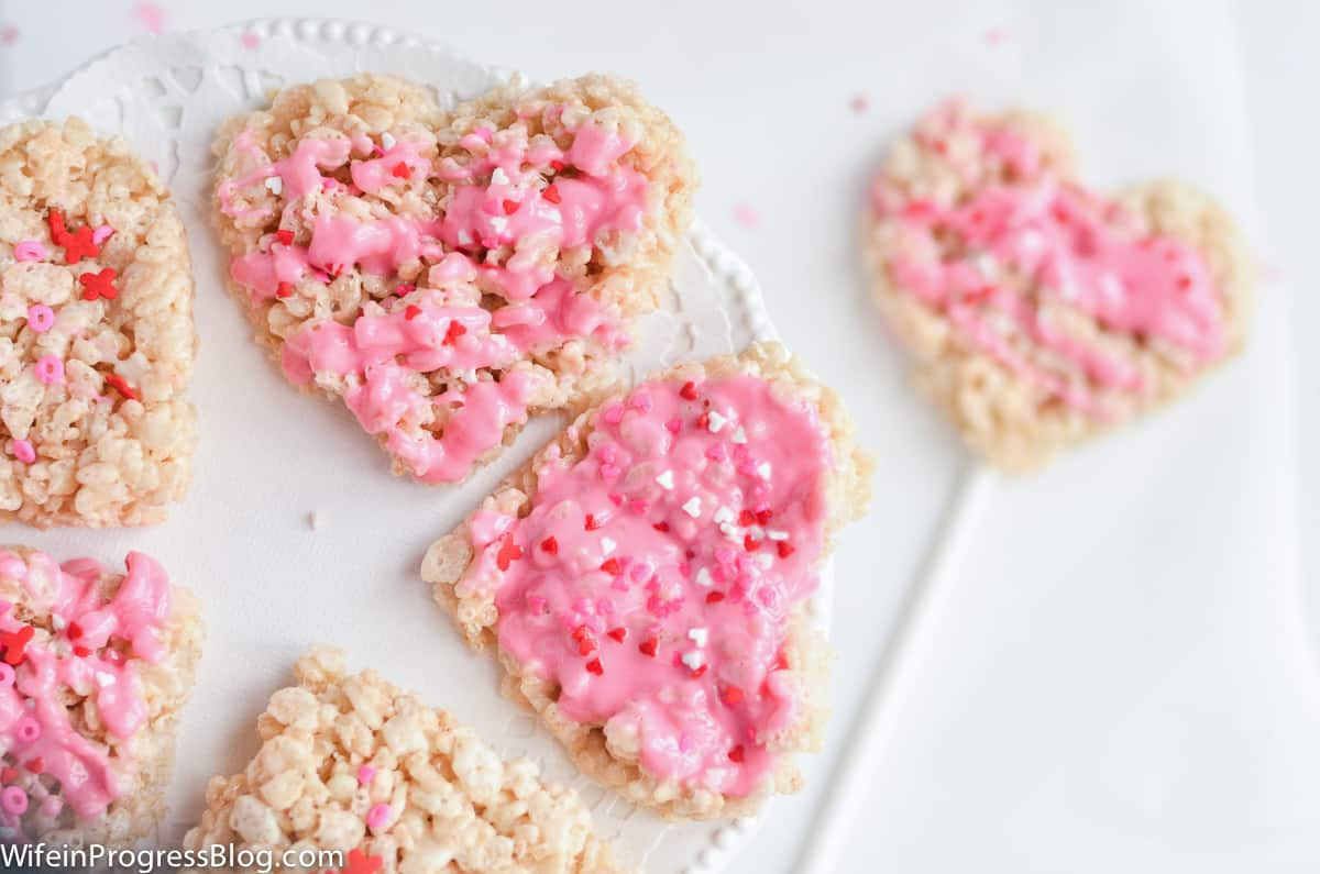 Heart shaped rice krispie treats for Valentine's day!
