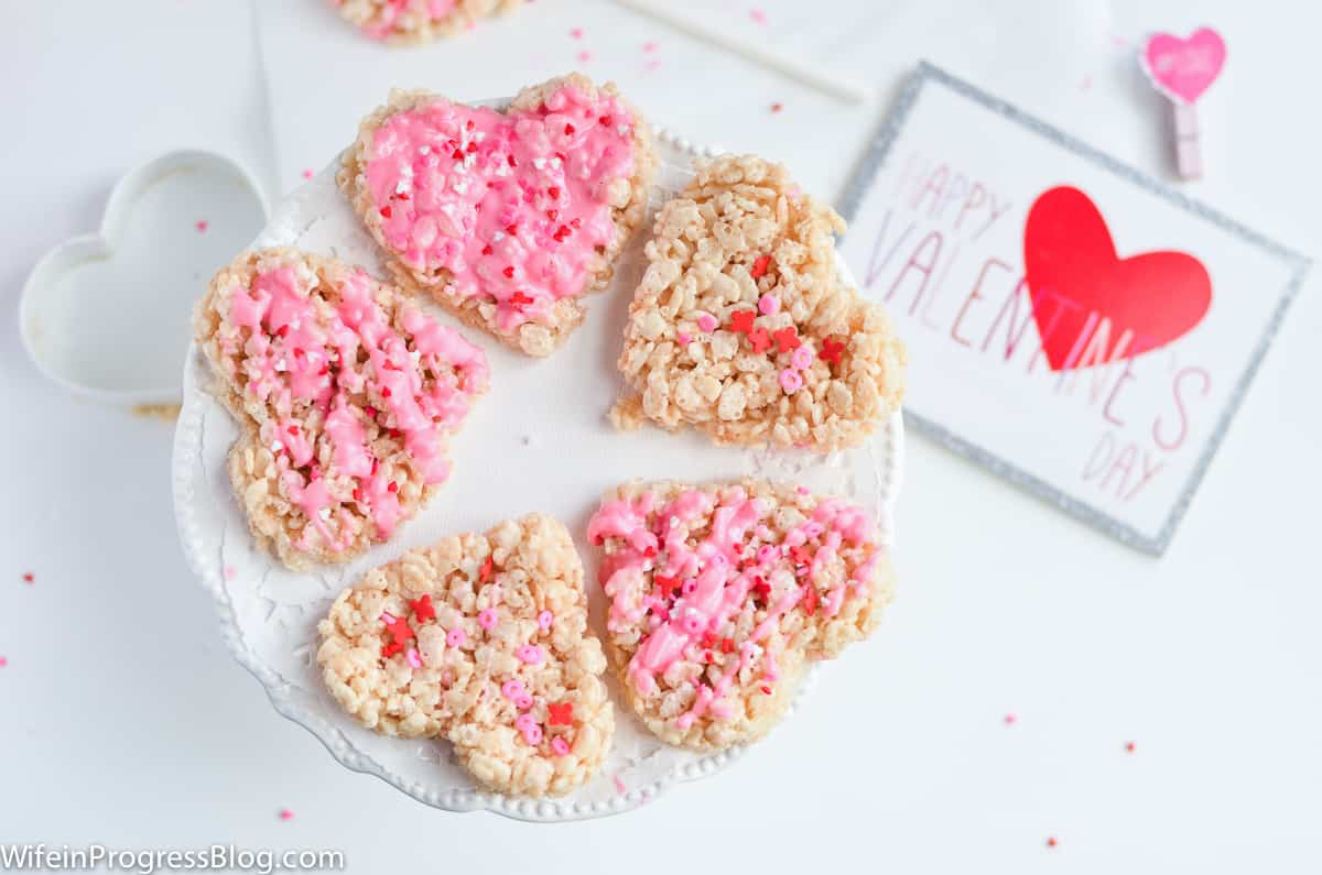 Platter with heart shaped valentine's day Rice Krispie Treats