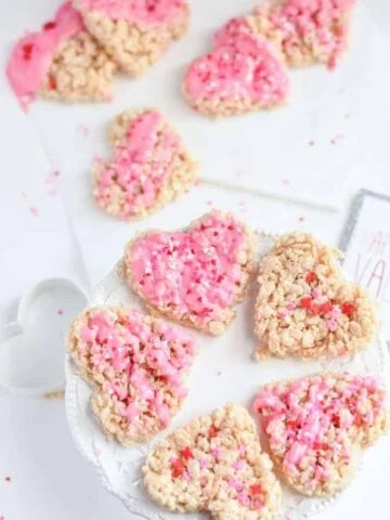 rice krispie treat hearts on a cake stand